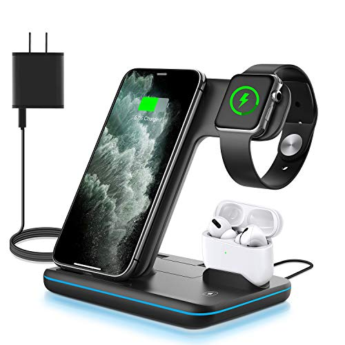WAITIEE Wireless Charger 3 in 1, 15W Fast Charging Station for Apple iWatch Series 5/4/3/2/1,AirPods, Compatible with iPhone 11 Series/XS MAX/XR/XS/X/8/8 Plus/Samsung (Black)