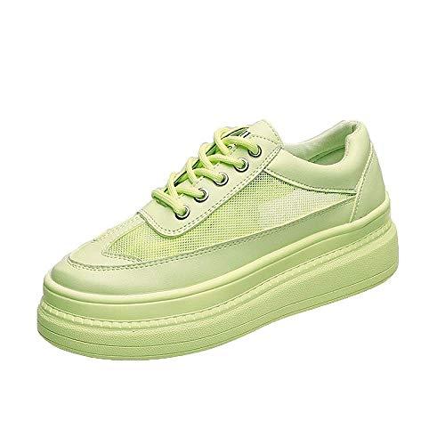 GERPY Zapatillas de Plataforma de diseñador Zapatos de Mujer Zapatos Blancos y Verdes Malla de Verano Femenina Calzado Casual Confort Tenis Planos Chaussures Femme