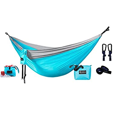 ChillGear Double Camping Hammock - Portable Parachute Nylon with Hanging Straps and Attachable Cooler - Best Hammock for Camping, Backpacking, Travel, Beach, Yard. 118 (L) x 78 (W)
