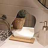 Espejos Decorativos de Sobremesa, Espejo Acrílico en Forma de Estrella Irregular Con Base de Madera, Para Maquillaje y Decoración Del Hogar
