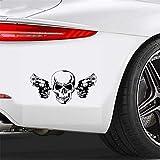Autocollant Voiture Creative Autocollant De Voiture Cool Gun Crâne Automobiles Motos Décoration De Haute Qualité Vinyle Autocollant Couverture Rayures, 17 cm * 9 cm