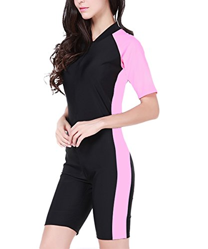 Wetsuit Sport Skin for Running, Exercising, Diving, Snorkeling, Swimming & Water Sports-Pink-US XL/Asian 2XL