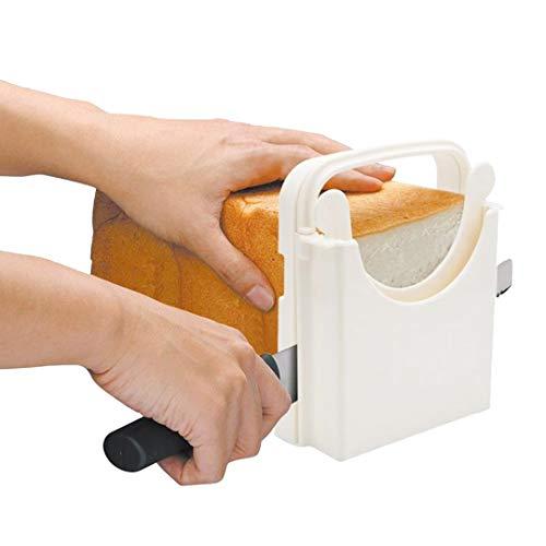 Authda Brood Snijden Gids Toast Slicer Tool Verstelbare Opvouwbare Sandwich Cakes Licht Slicer Geschikt voor Zelfgemaakte Brood Taarten Wit