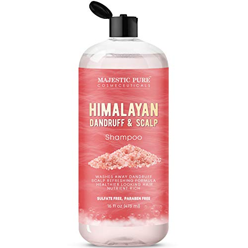 Majestic Pure Himalayan Sulfate Free Dandruff and Itchy Dry Scalp Shampoo, 16 fl. oz. - Washes Away Dandruff - Dry Itchy Scalp Refreshing Formula, for Men and Women