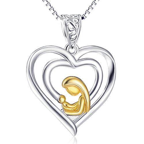Collar colgante El día de la madre 925 joyería de plata esterlina corazón colgante plateado 18k oro cristiano religioso Virgen pulsera collar para mujeres niñas ( Color : Plata , tamaño : Free size )