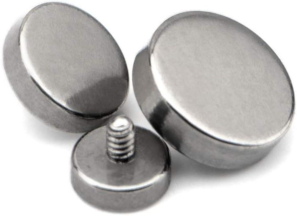 Set of 3 Flat Disc Titanium Internally Threaded Dermal Anchor Tops