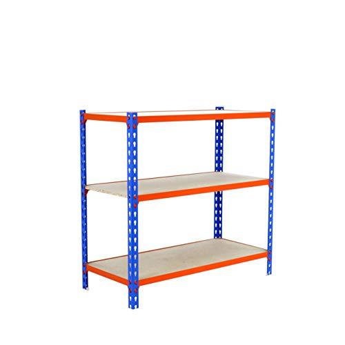 Estantería metálica sin tornillos Maderclick de 3 estantes Azul/Naranja/Madera Simonrack 900x1000x400 mms - Estantería con madera - Estantería trastero - 150 Kgs de capacidad por estante