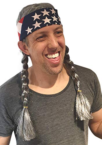 HandinHandCreations Hippie Willie Wig Cowgirl Cowboy Country Nelson Braids Wig USA Bandana Grey