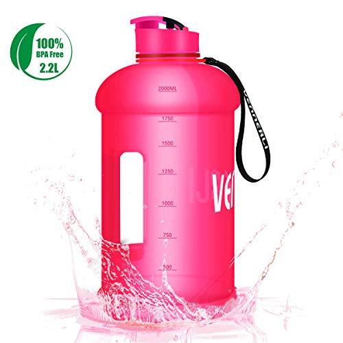 VENNERLI Trinkflasche 2,2 Liter Groß Sport Wasserflasche Sportflasche BPA Frei Auslaufsicher mit Griff Nylon-Armband für Gym Outdoor Sport Wandern Büro