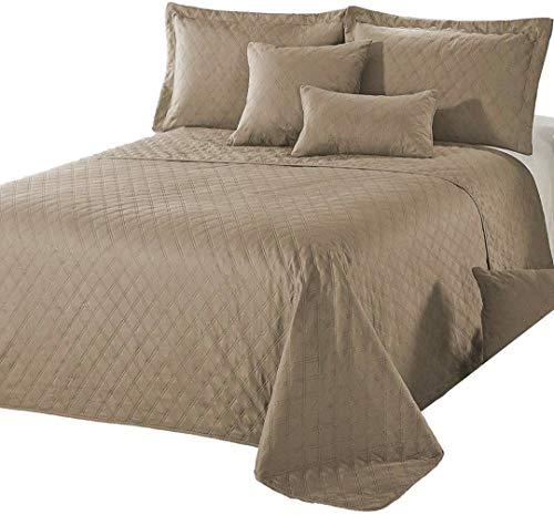 Delindo Lifestyle Tagesdecke Bettüberwurf Premium BRAUN, für Doppelbett, einfarbig für Schlafzimmer, 220x240 cm