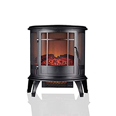 Daewoo 1900W Electric Fire Flame Effect Curved Stove Heater Free Standing Fireplace, Functional Mesh Screen Door and 180° Degree Log Burner LED, 240V 50HZ Fan Heater with Thermostat, 1.65M Power Cord
