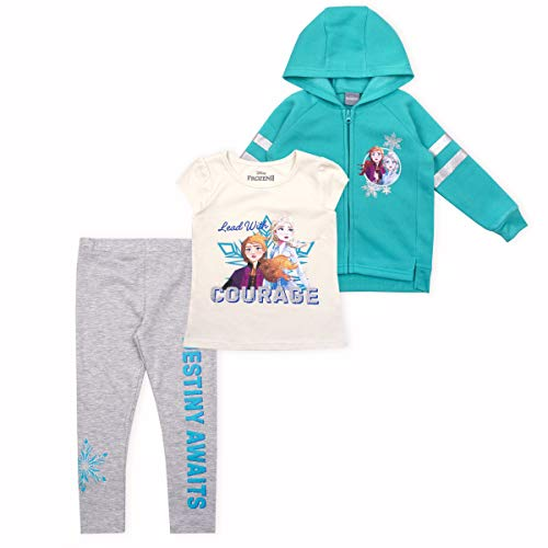 Disney 3-Piece Frozen II Leggings Set for Girls with Elsa Shirt and Zip-Up Hoodie Blue - Off-White