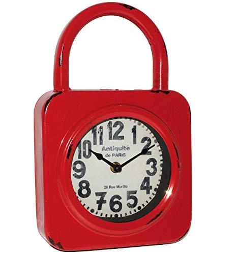 alles-meine.de GmbH 2 in 1: Wanduhr / Standuhr -  Vorhängeschloss - ROT  - aus Metall / 30 cm groß - schleichendes Uhrwerk ! - Uhr - Analog - Tischuhr - Retro & Nostalgie - Kam..