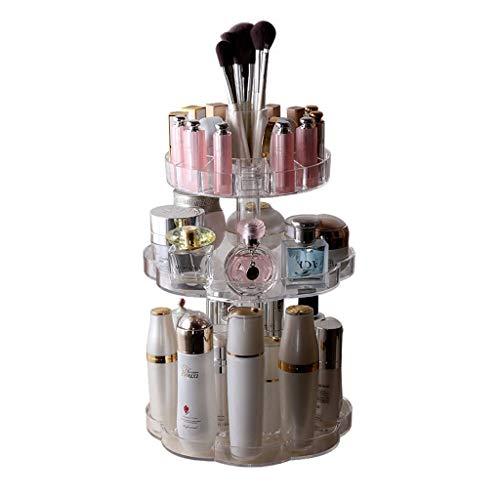 WeiLuShop Support Cosmétique De Support De Table De Stockage De Bijoux Sûr Et Respectueux De l'environnement Acrylique Transparent Boîte De Rangement Cosmétique Rotatif Multi-Fonction Home Rack