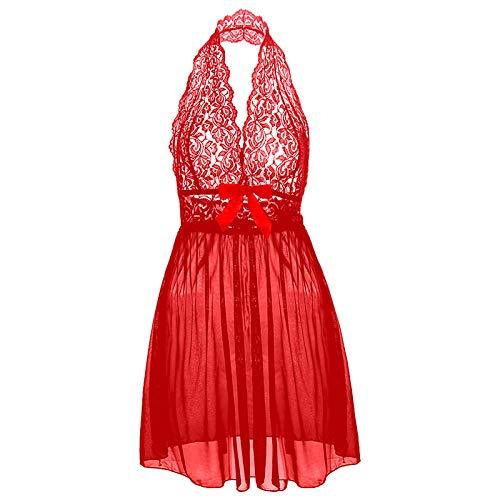 Pijamas para Mujer Pijama Sexy Tallas Grandes Deep V Mujeres Encaje Lencería Sexy Hot Erotic Bow Vestido Transparente Ropa De Dormir Camisola-Rojo_XXXL