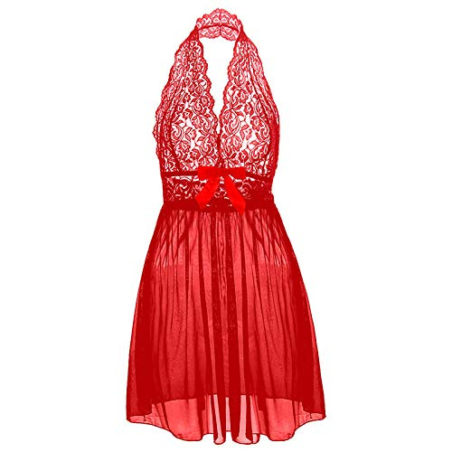 Picardias Mujer Sexy S M L XL XXL 3XL 5XL 6XL Camisón De Talla Grande Camisa De Encaje con Cuello En V Profundo Lencería Sensual Sexy con Lazo Erótico Transparente-Rojo_Metro