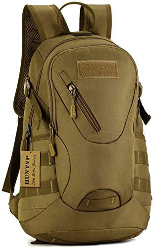 Huntvp® 20L Taktisch Rucksack Molle Schultasche Wasserdicht Studenttasche Schoolbag Mini Tagesrucksack Multifunktionale Militär Daypack Sporttasche für Outdoor Camping Wandern, Braun