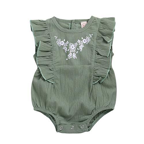 Riou Strampler Baby Sommer Kurzarm Neugeborene Babys Bestickt Gekräuselte Blumen Spielanzug Bodysuit Kleidung Jumpsuit Romper Overall Body Strampler Set