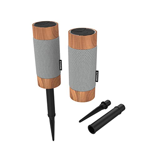 KitSound Diggit Twin Pack Outdoor Freestanding Bluetooth Garden Speaker with Removable Stake, Silver/Wood