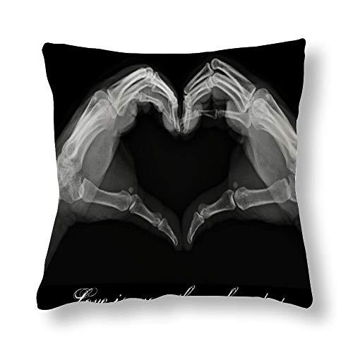 Perfecone Home Improvement - Funda de almohada de algodón para sofá y coche, diseño de rayos X, 45 x 45 cm
