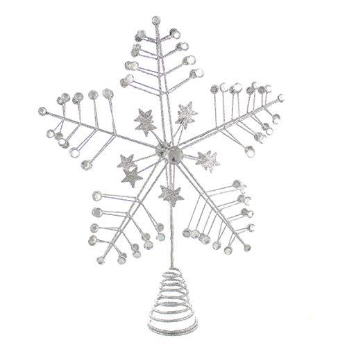 Festive Productions - Decorazione per albero di Natale con brillantini, colore: argento, 25 cm