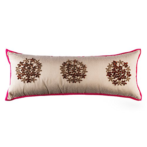 Find Bargain Embroidered Flower Long Rectangle Lumbar Floral Throw Pillow Cushion Cover, Brown Beige...