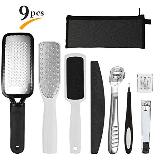 Professional 9 in 1 Pedicure Kit Foot File Set Callus Remover Kit Foot Rasp for Removing Hard Skins and Cracked Skin Corns, Suitable for Women&Men