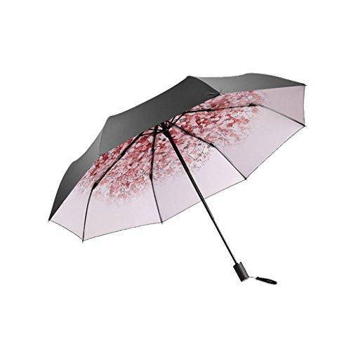 XiuHUa Compacte Reisparaplu-Parasol Draagbare Opvouwbare Paraplu Zonneschaduw Anti-uv Sneldrogende Winddichte Reizen Paraplu-Winddicht Dubbele Luifel Constructie-Teflon Coating (Pink paraplu standaard