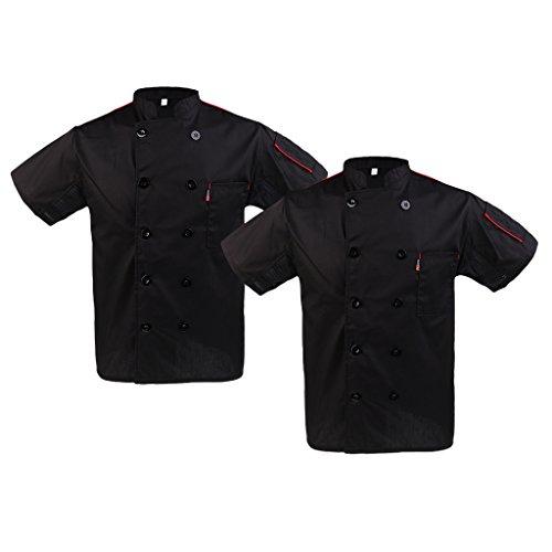 chiwanji 2 Stück Kurzarm Kochjacke Bäckerjacke Kochkleidung Koch Gastronomie Hotel Uniform Küche Arbeitskleidung - Schwarz, M