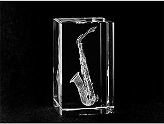 Asfour Crystal 1165-70-64 1. 6 L x 2. 75 H x 1. 6 W inch Crystal Laser-Engraved Saxophone Music Laser-Cut