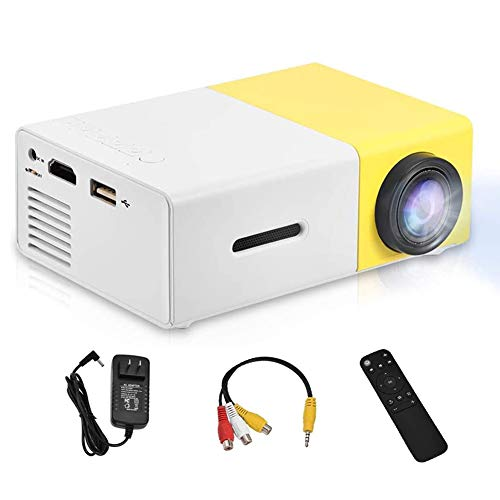 Vbestlife Mini Projector,Portable 1080P 600lm 4 : 3 LED Projector Home Cinema Theater Movie Support Laptop PC Smartphone HDMI Input,Great Gift Pocket Projector for Christmas (Yellow&White)