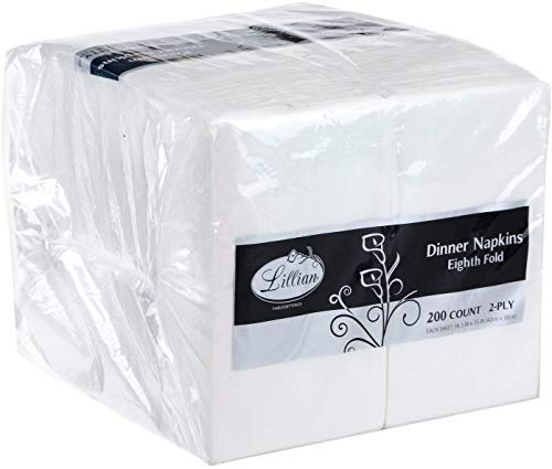 Premium White Napkins, 1/8 Fold Dinner Napkin, Value Pack 200 Count