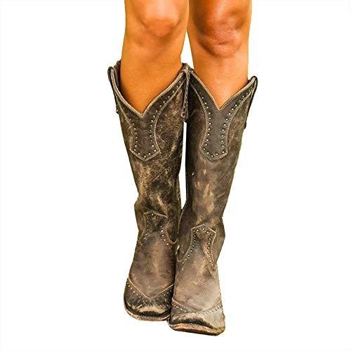 XLBHSH Klassische Retro-Stiefel für Damen, Halbwadenlang, Brogue-Biker-Stiefel, Vintage-Nieten, Lederreitstiefel, klobiger Absatz, Cowgirl, Miami, Cowboy, Westernstiefel, 01,37