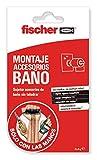 fischer 548836 Masa Sclm Accesorios Baño (blíster 2 x 4 g) Adhesivo de Montaje para baños y cocinas, Transparente, sin perforar la Pared, Secado rápido y fácil aplicación