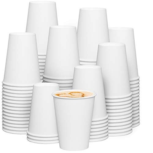 [300 Pack] 12 oz. White Paper Hot Coffee Cups