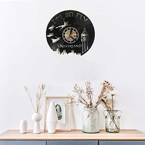 Meet Beauty Ding Never land - Reloj de pared con disco de vinilo creativo de Peter Pan hecho a mano, gran idea de regalo para cumpleaños y Navidad
