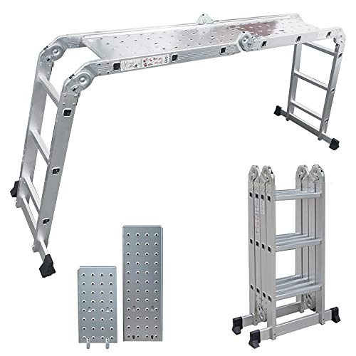 Artall Zoom Nueva actualización con hebillas de metal, escalera multiusos aluminio, 4 x 3 peldaños 2 placas andamio, hasta 150 kg, 3,6 m longitud total, articulada, multiusos, jardín, andamio