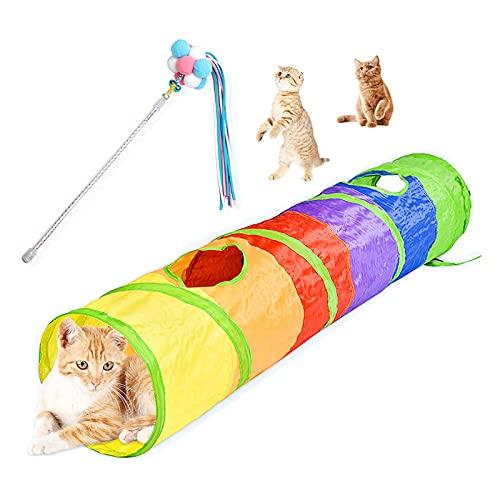 Yngffb Giocattoli per gatti Set, gioco gatto, 1 tunnel per gatti e 1 divertente bastoncino per gatti, in poliestere, sicuro, colorato, duarabile pieghevole per gattini e gatti