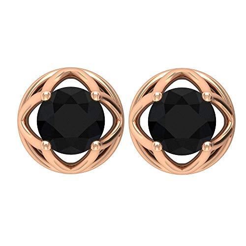 Pendientes de diamante negro con certificado SGL de 0,5 ct, con certificado SGL, pendientes redondos, únicos para niñas, pendientes de novia 10K Oro rosa, Par