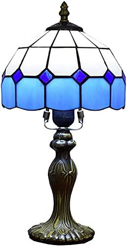Lámpara del Banquero 8 pulgadas con pantalla de vitral mediterránea E27 Lámpara de escritorio retro para sala de estar Mesita de noche Habitación de niños Amarillo-Azul