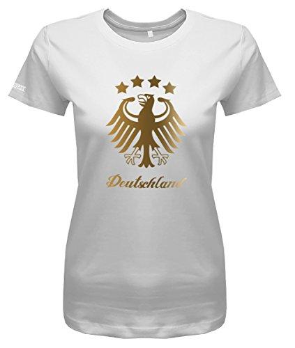 WM 2018 Deutschland Adler - 4 Sterne Gold - Damen T-Shirt in Weiss by Jayess Gr. S