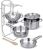 Click N' Play Stainless Steel Cookware Pots and Pans with Pot Rack Organizer