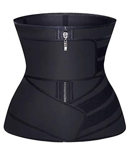 YIANNA Latex Waist Trainer for Women Tummy Control Jsculpt Double Sweat Trimmer Belt Workout Training Sport Girdle, YA2223-Black-L