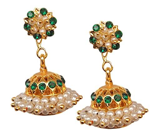 Pahal - Pendientes tradicionales de oro verde con perla blanca y jhumka del sur de la India Bollywood Kemp para fiestas