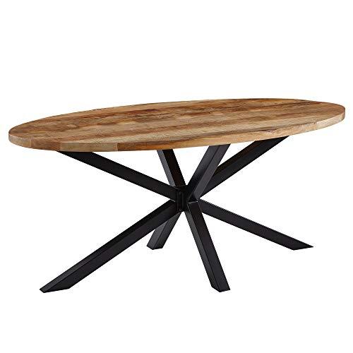 Wohnling Design Esszimmertisch Massivholz/Metall 175 x 76 x 90 cm | Industrial Tisch Massiv Mango | Küchentisch Holztisch Esszimmer | Esstisch Groß Oval