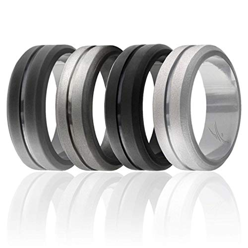 ROQ Silicone Wedding Ring for Men, Set of 4 Elegant, Affordable Silicone Rubber Wedding Bands, Brushed Top Beveled Edges -Black, Grey, Silver, Beveled Metallic Platinum - Size 9