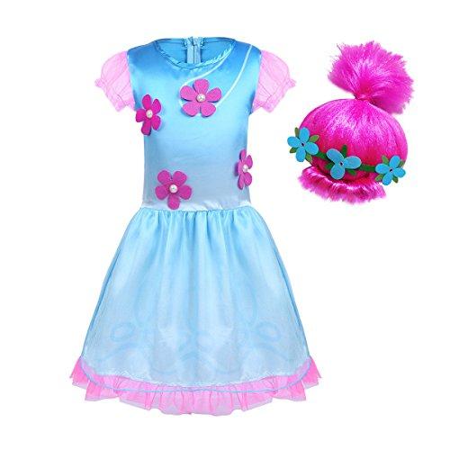 iiniim Disfraz Infantil de Princesa Niña para Halloween Fiesta Ceremonia Cumpleaños Vestido Folr con Peluca Rosa Tutú Volante Traje de Disfraces Bebé Niña 18 Meses - 10 Años Azul&Rosa 18-24 Meses
