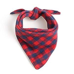 1 Pièce Rouge Chien Bandana Collier écharpe Accessoires pour Chiens Foulard Plaid Coton Pet Dog Bandana Chiot Chihuahua Animaux Triangular Bandage Colliers Chats (S)