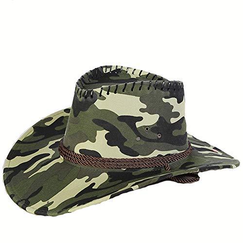 XIAOKEAI Sombrero De Vaquero Occidental Hombres/Mujeres 2019 El Verano Camuflaje Al Aire Libre Protector Solar Simple La Moda Paja Playa Visera Gorra De Pesca Sombrero