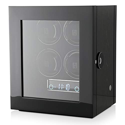 Watch Winder for 4 Watches with Fingerprint Lock, Interior Backlight and Remote Control (Black Apricot)